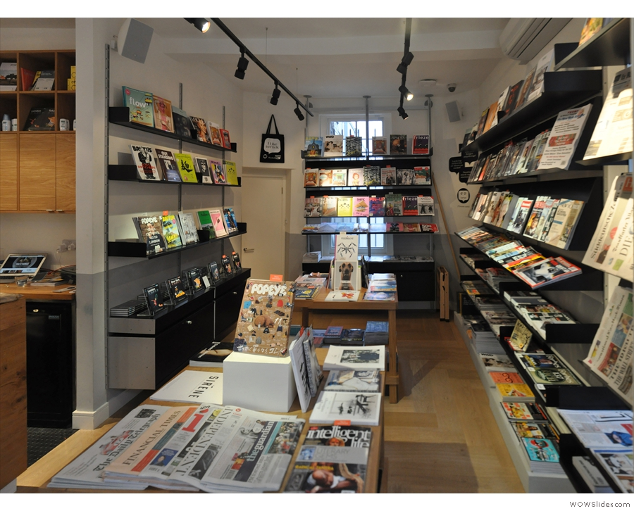 To the right is the magazine/newsagents part (the Kiosk, if you will)...