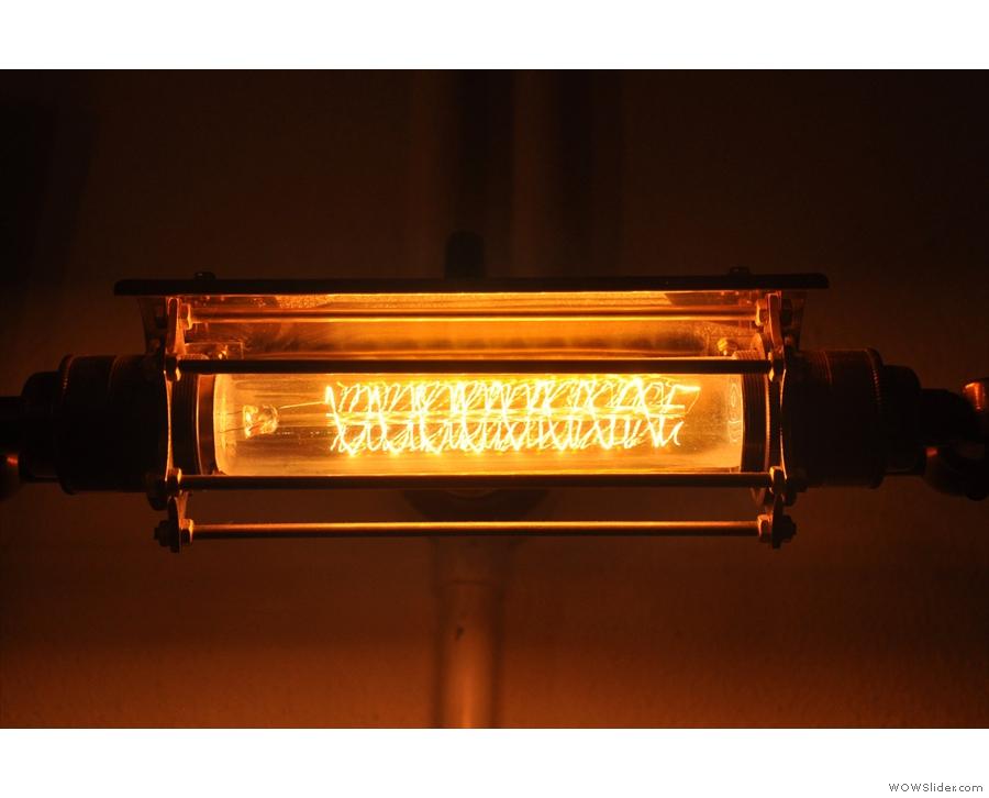 June: One of the many lovely lamps illiuminating Soho Grind, London.