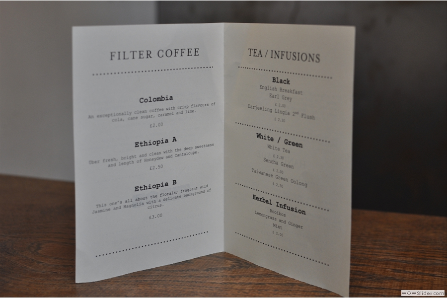 Details of the single-origin beans and tea in the menu...