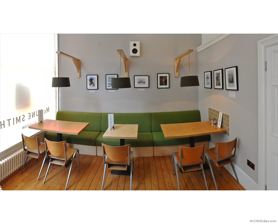 Meanwhile, in the other room, there are just these tables against the left-hand wall.