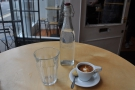 My macchiato, complete with bottle of water...