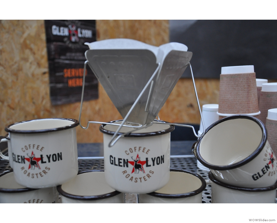 Amongst the neat things on the stand, Glen Lyon had this fold-up coffee filter. Nice.