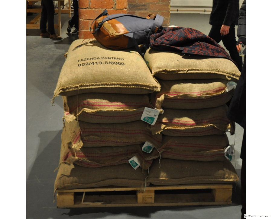 Can't visit a roastery with taking a picture of sacks of green beans. It's the law!