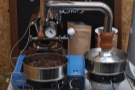 Oven Bird had brought along the cutest sample roaster I've ever seen...