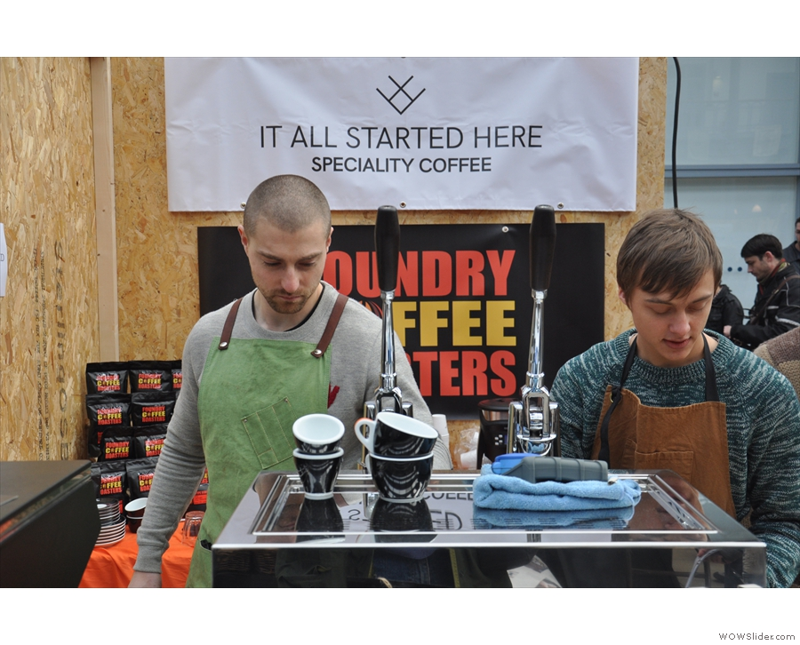 Coffee expertise was provided by Will (left, It All Started Here) & Callum (right, Foundry).