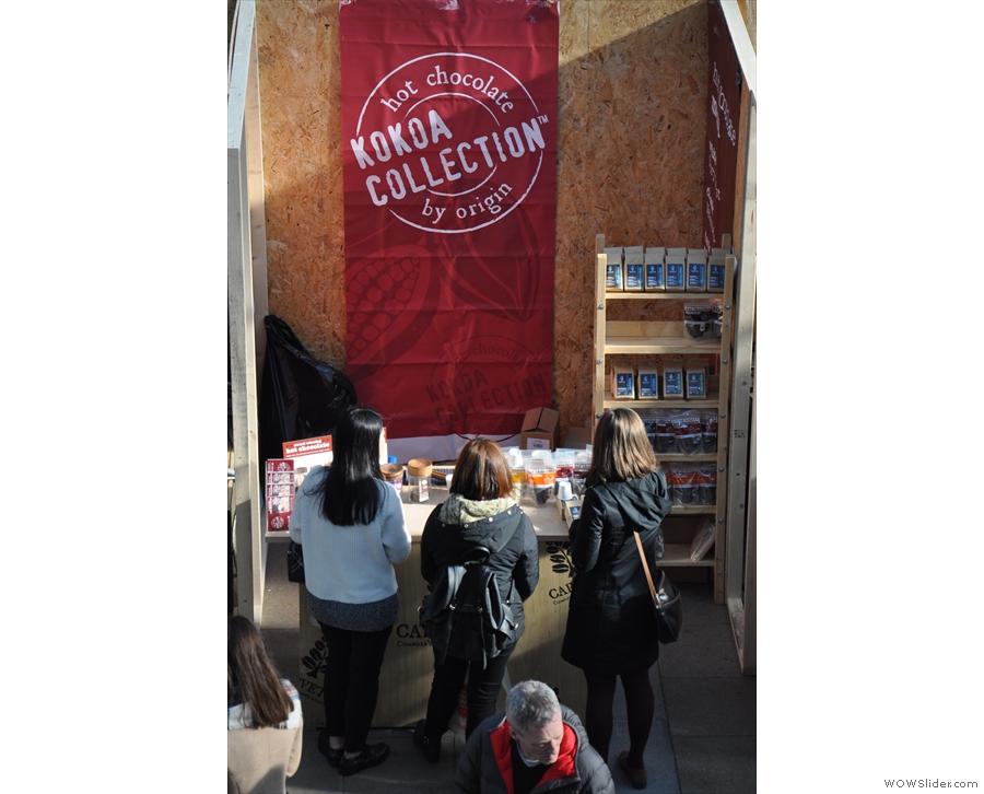 To the left, Kokoa Collection, purveyors of fine, single-origin hot chocolate.