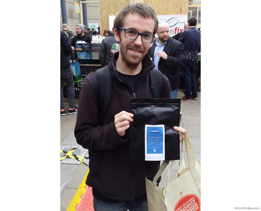This is Andy of Our Coffee Love, who gave me my first bag of coffee of the festival.