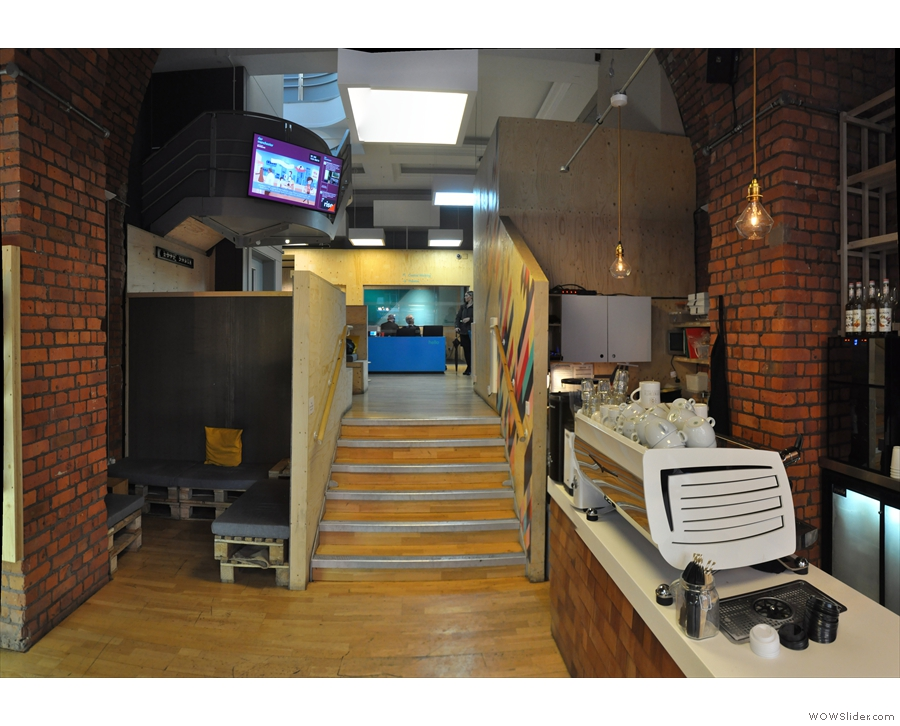 There are stairs at the back: although not technically Grindsmith up there, you can go up.