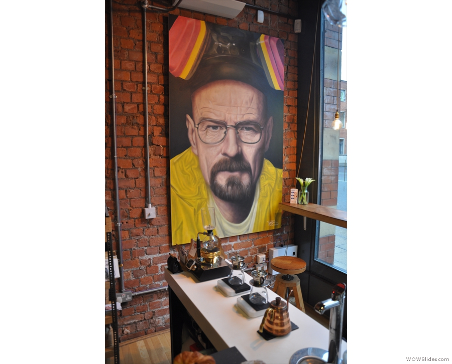 Breaking Bad: a free-sprayed painting hangs in the corner, fittingly overlooking the brew-bar.