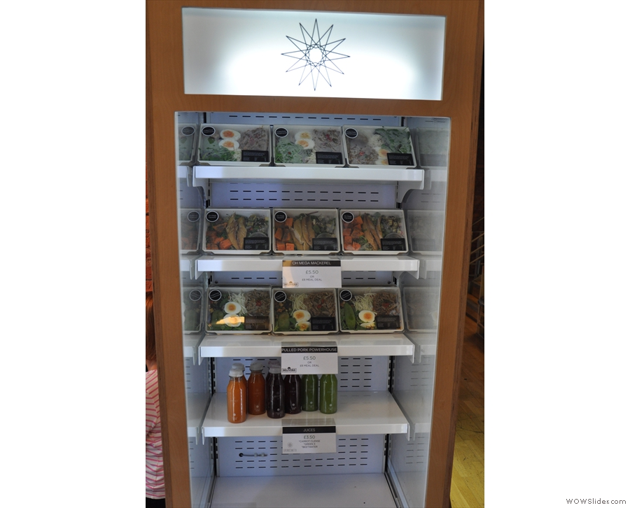 Meanwhile, opposite the counter, is a range of salads in a chiller cabinet.