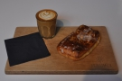 Finally, my flat white and Apple Danish, both beautifully presented on a Grindsmith tray.