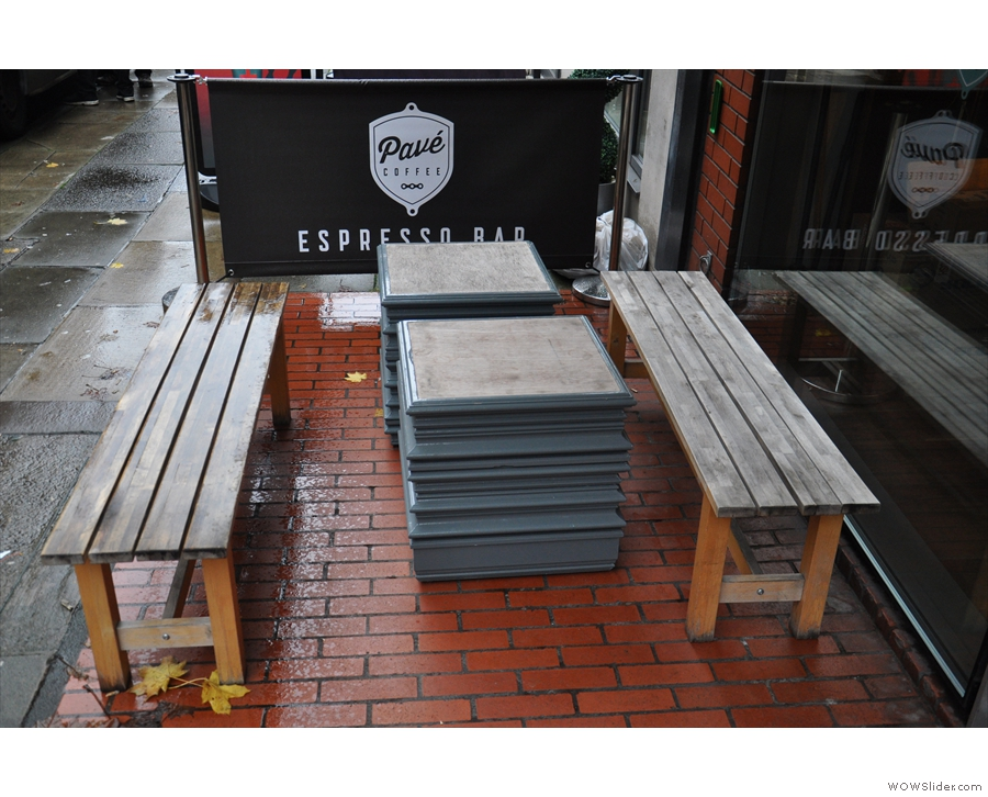If it ever stops raining, you can sit outside on these two benches in front of the window...