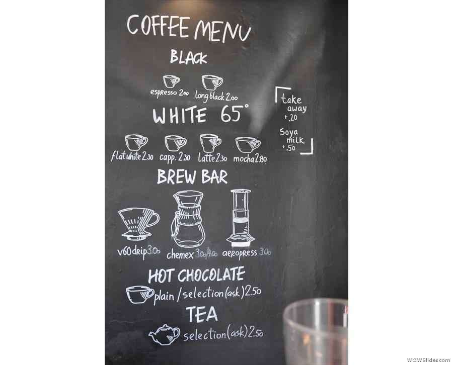 However, the main draw is the coffee. Nicely presented menu.