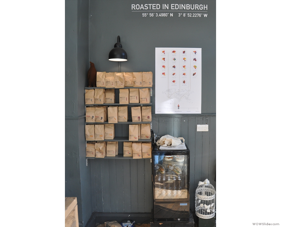 Talking of coffee, Artisan Roast's full range is on display on the wall to the right as you enter.
