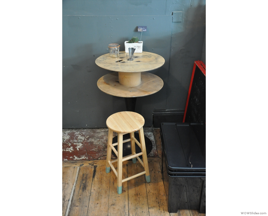 ... and this reused cable reel acting as another table (there's also a second of these).