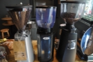 ... along with the three grinders. From left to right: decaf, guest & house-blend (Janszoon).