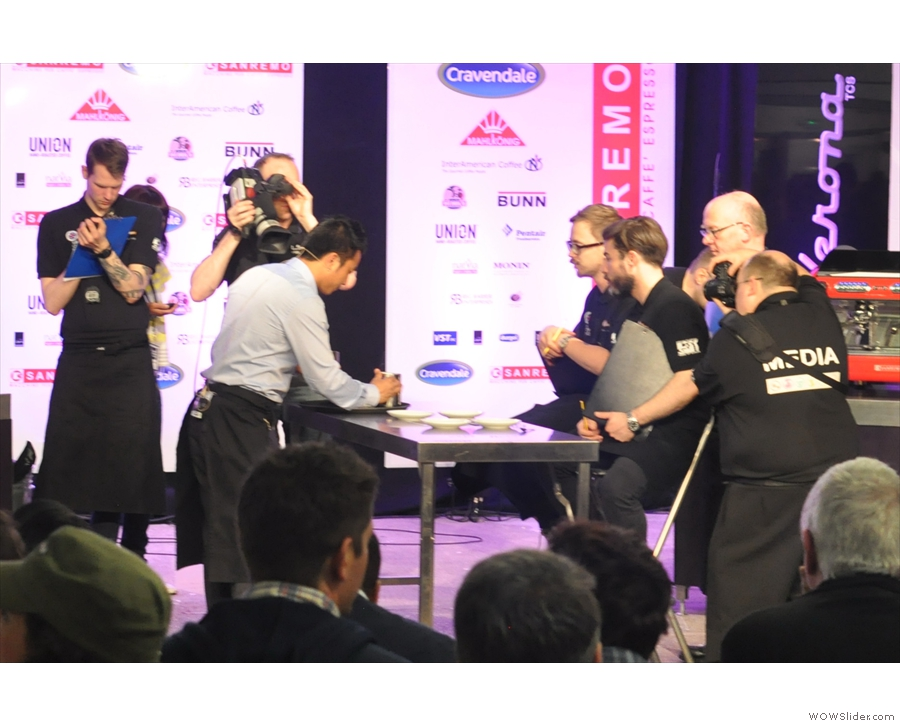 UK Latte Art Champ, Dhan Bahadur Tamang, in action in 2013 at the London Coffee Festival.
