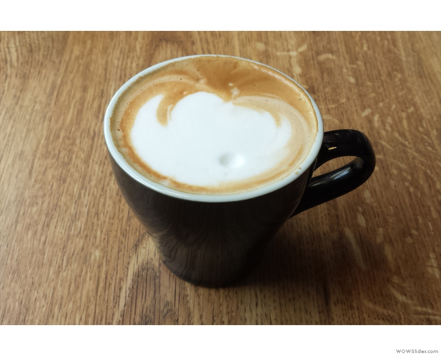 On my return in 2015, I had to try the coffee, so went with a flat white (in a tulip cup!)...