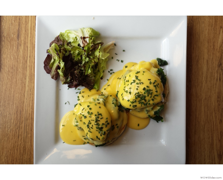 I, of course, had Eggs Florentine, seen here from above (& taken from the breakfast menu).