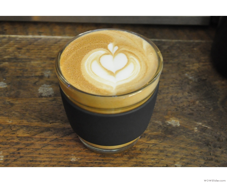 ... and there you have it: a lovely flat white (Becki's latte art, not mine, I hasten to add!).