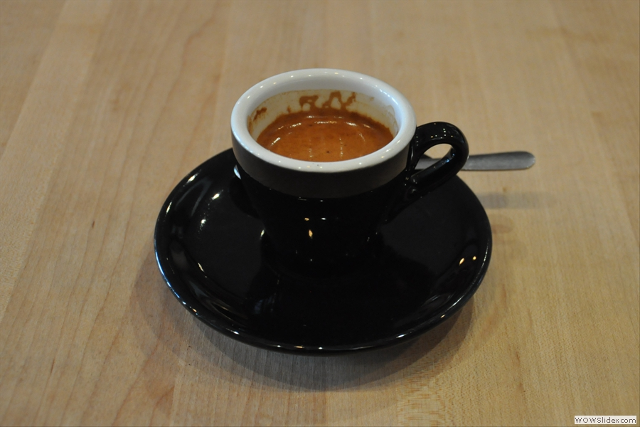 My espresso. I love the classic black cup, but I wish it wasn't so hard to photograph well!