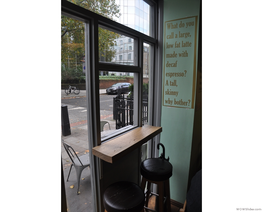 You can also perch at this little bar by the old serving hatch...