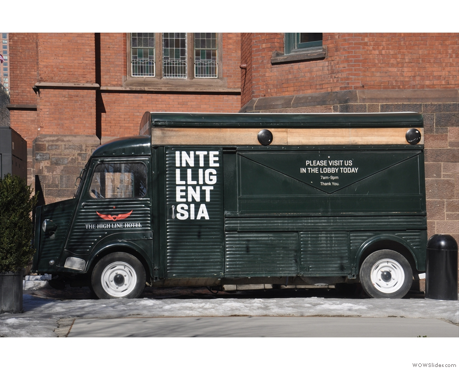 It's Intelligentsia's 1963 Citroën coffee truck. In good weather, you can get coffee here too.
