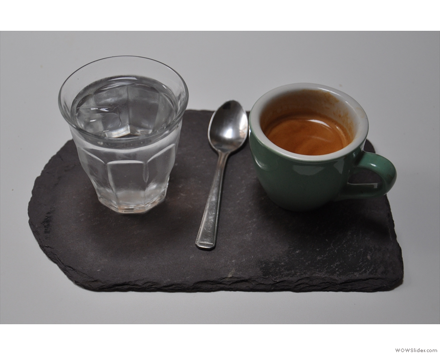 February: a beautifully presented espresso, plus glass of water, at Marmadukes, Sheffield.