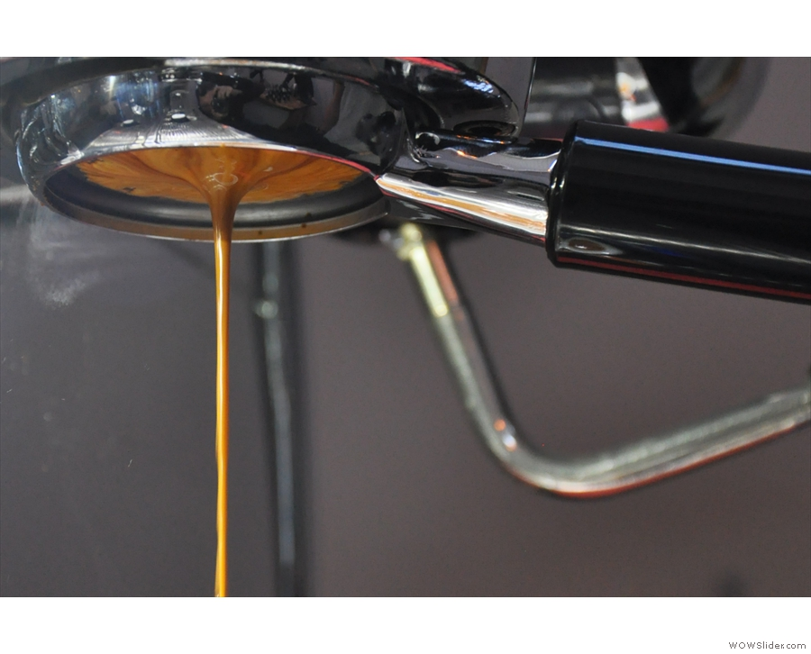 July: espresso extraction in action at Foundry Coffee Roasters, Sheffield.