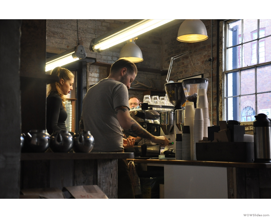 August: caution, barista at work! Morrell in action at Tamper Coffee, Sellers Wheel, Sheffield.