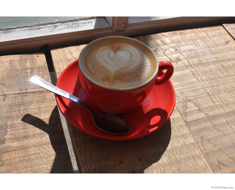 September: a lovely flat white in the morning sun at Bridport's Soulshine Cafe.