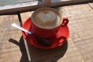 September: a lovely flat white in the morning sun at Bridport's Soulshine Cafe.