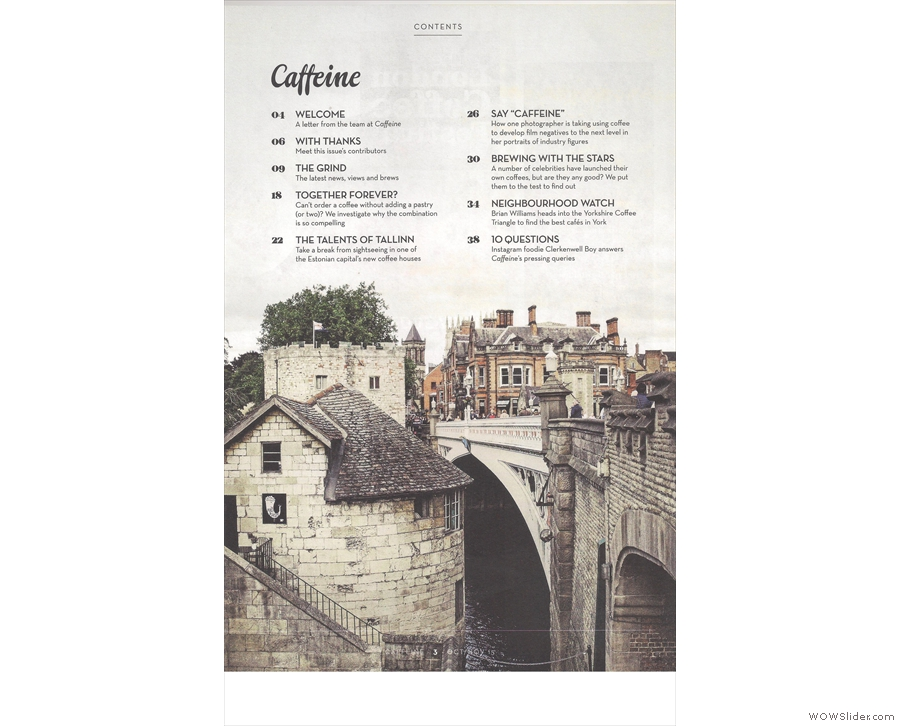 Inside, there's another stunning contents page photo, this time by Amelia Hallsworth.