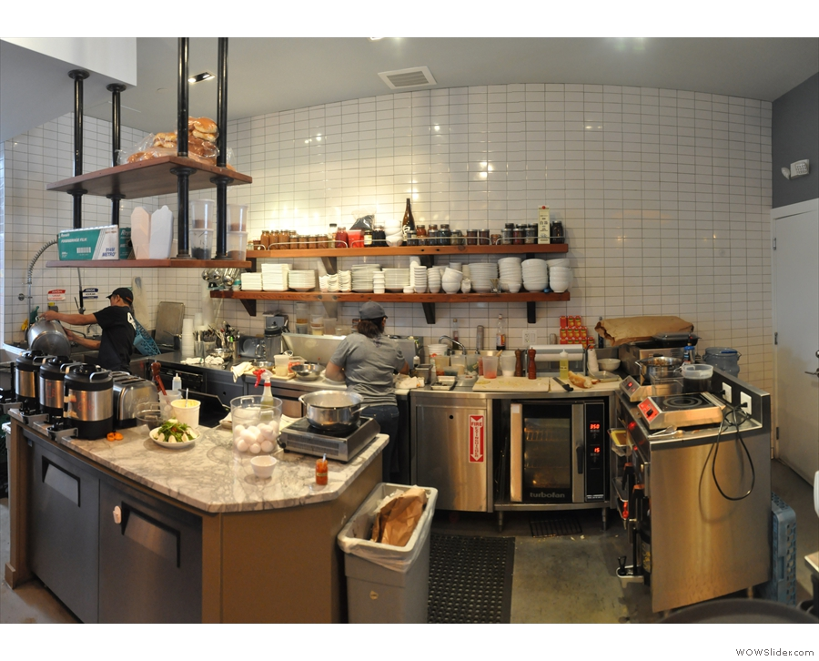 Slipstream has a large and well-provisioned kitchen behind the counter...