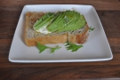 My lunch:  goat's cheese mousse and avocado on toast.