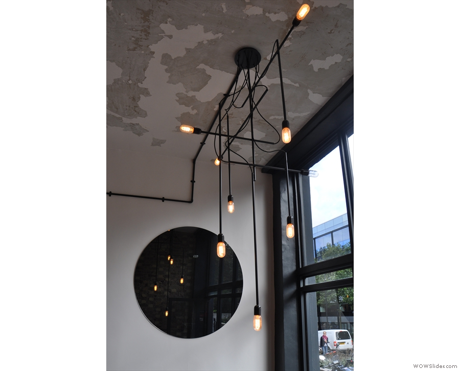 Saint Espresso at the Angel, Islington, has a fantastic light-fitting in the window.