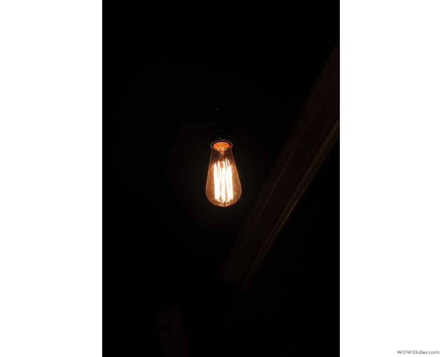 Bare lightbulbs also make an appearance.