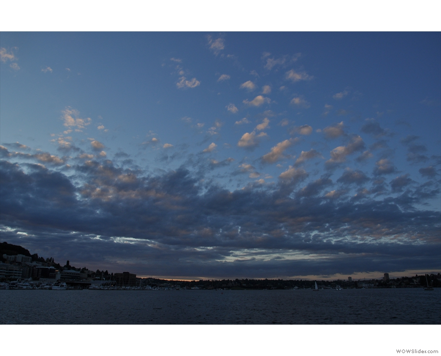 Returning to the previous evening, I'd watched the sun setting over Lake Union.