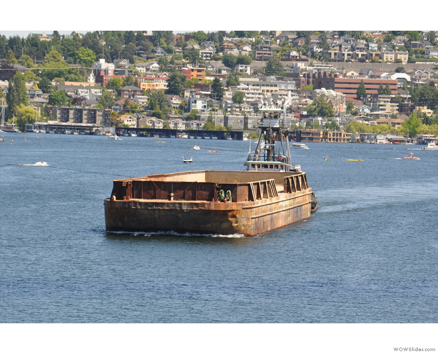 This is the culprit, steaming out of Lake Union and into Fremont Cut. Big fellow..