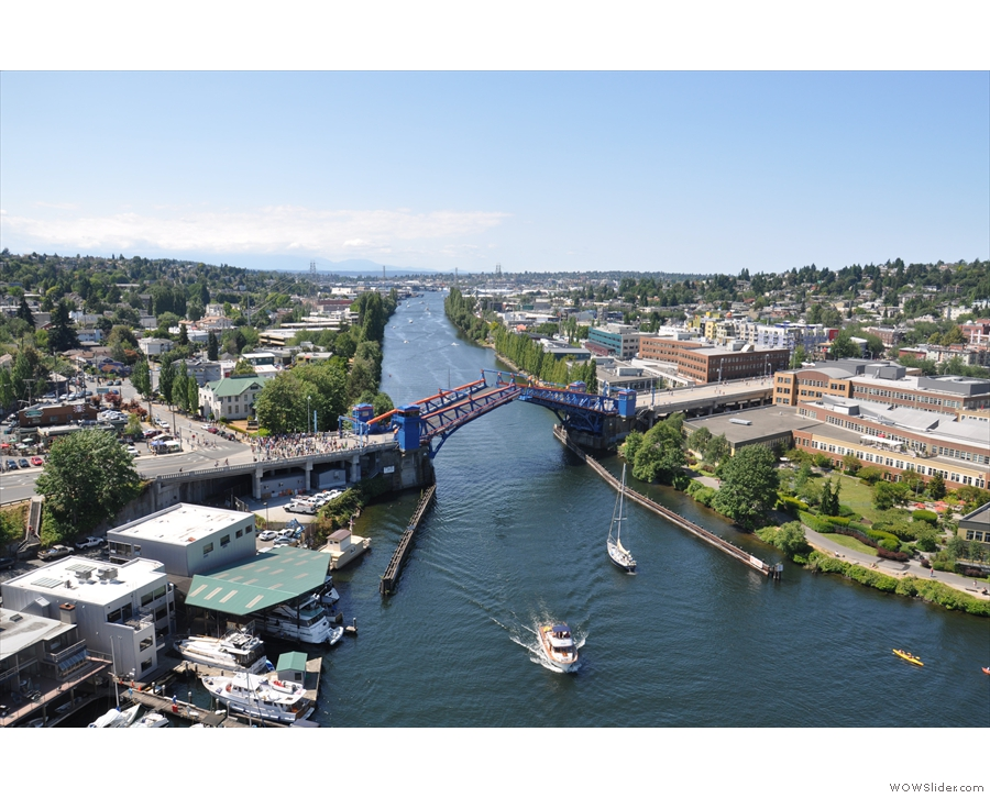 Having obligingly opened for me just after I crossed it, the Fremont Bridge opened for me...