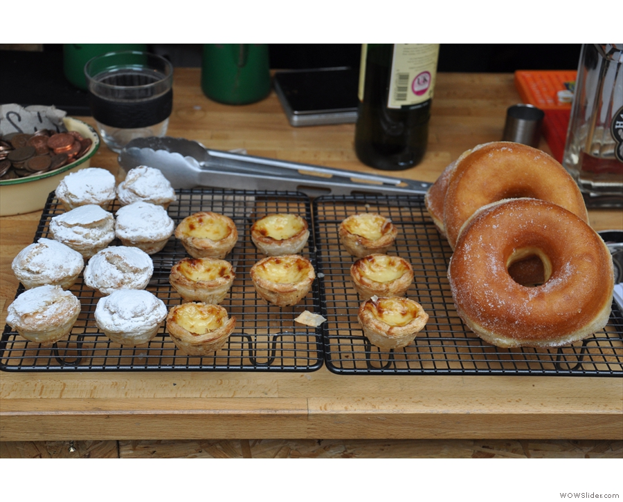 And cake. Little mince pies, natas and some enormous doughnuts!