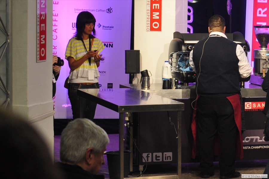 I got to see two entrants in the Latte Art competition. The first was Joao Almeida, seen here making his first two shots.