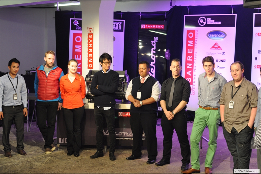 Later, all the competitors line up while the results are announced.