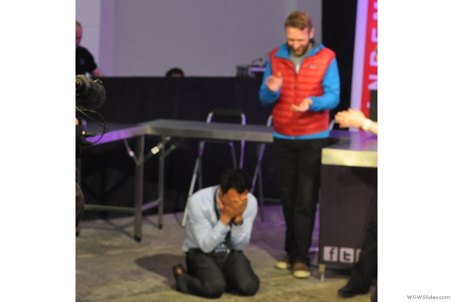 Finally, the winner is announced and Dhan Bahadur Tamang sinks to his knees.