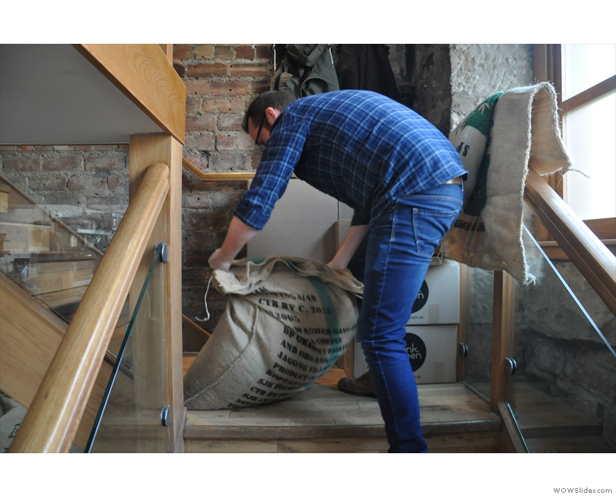 ... until one is ready to be roasted, when it's hauled up the stairs, a rather manual process!