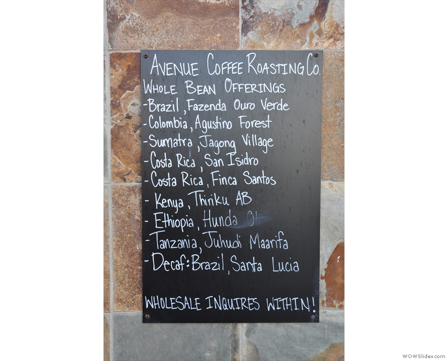 Avenue Coffee's output is all available at the cafe, chalked up on the board outside...