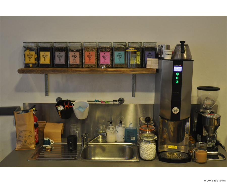 Behind the espresso machine is the boiler for pour-over plus loose-leaf tea.