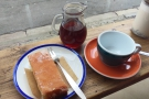 My pour-over, served in a carafe, complete with slice of lemon drizzle cake.