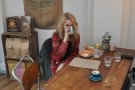 This is the talented Cherie Jerrard, cafe-life illustrator, getting coy when the camera's about.