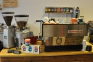 Finally, there's the La Marzocco and its two grinders: the house-blend & decaf.